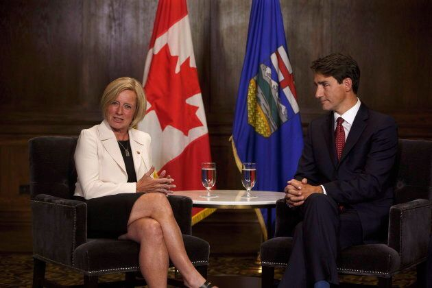 Prime Minister Justin Trudeau and Alberta Premier Rachel Notley meet in Edmonton on September 5,