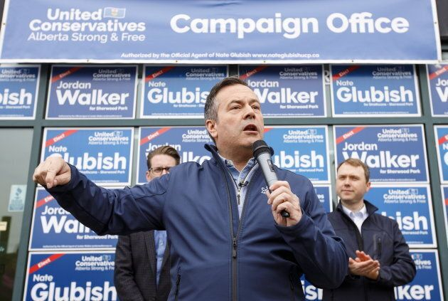 United Conservative Party leader Jason Kenney speaks at a rally before the election, in Sherwood Park...