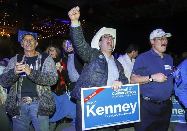 United Conservative Party supporters celebrate in Calgary, Alta., on April 16,