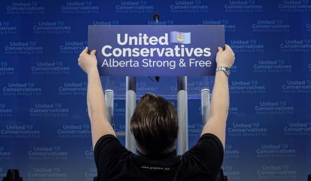 The stage where United Conservative Party leader Jason Kenney will address supporters in Calgary, Alta.,...