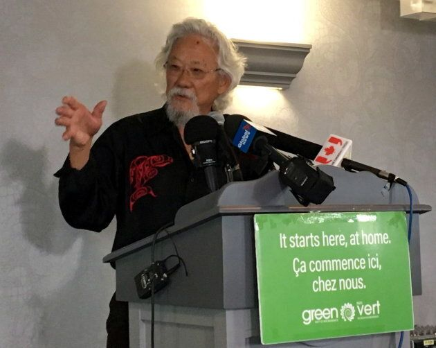 File photo of environmentalist David Suzuki speaks at a Green Party rally in Moncton, N.B. on Sept. 21,