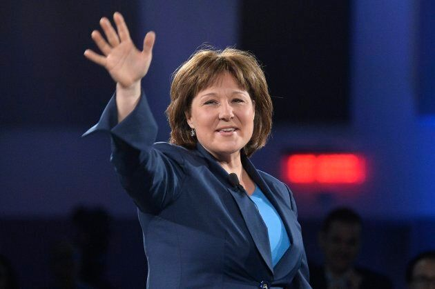 Former British Columbia Premier Christy Clark shares remarks in Ottawa on February 10,