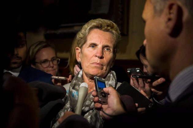 Former Ontario Premier and Liberal MPP Kathleen Wynne speaks to reporters at Queen's Park, in Toronto...