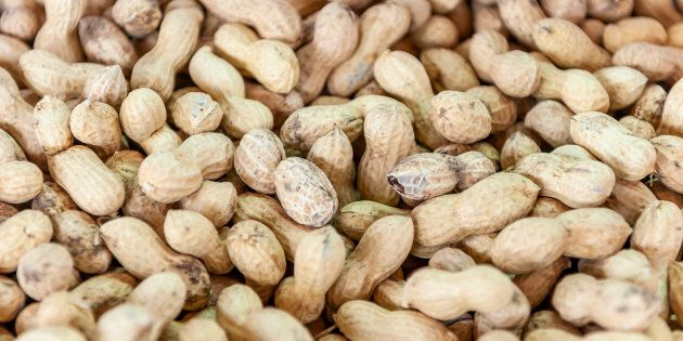 Jumbo raw peanuts are seen here in Israel on March 29, 2019. A new study suggests peanut allergies are...