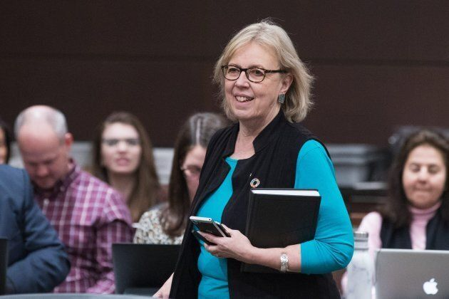 Green Party Leader Elizabeth May arrives for a committee hearing on Parliament Hill in Ottawa on Feb....