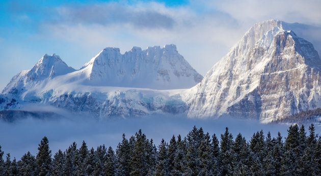 This undated photo shows the Rocky Mountains at Banff National Park during the winter. Parks Canada says...