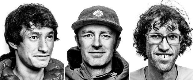 David Lama, left to right, Jess Roskelley and Hansjorg Auer are seen in a composite image of three undated...