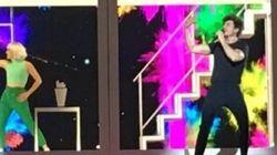 Primer ensayo de España en Eurovisión: estructura de vivienda, una marioneta gigante y mucho