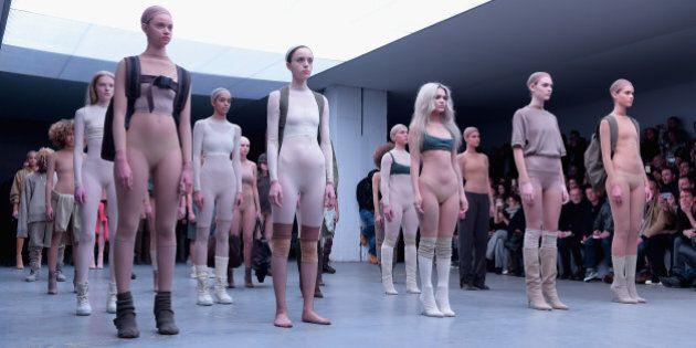 NEW YORK, NY - FEBRUARY 12: Models on the runway at the adidas Originals x Kanye West YEEZY SEASON 1...