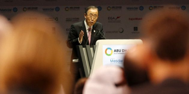UN Secretary General Ban Ki-moon gives the opening speech of the 9th edition of the World Future Energy...