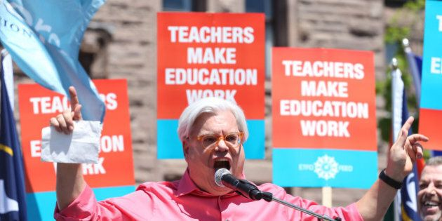 TORONTO, ON- MAY 14 May 14, 2015 . Fred Hahn, president of CUPE, Ontario speaks to high school teachers...