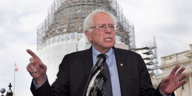 Sen. Bernie Sanders, I-Vt., speaks to the media about his agenda in running for president, Thursday,...