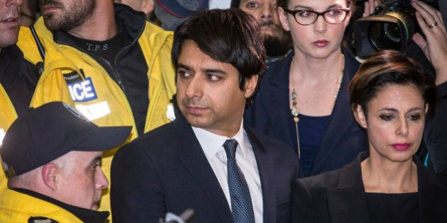 TORONTO, ON - NOVEMBER 26: Jian Ghomeshi leaving College Park Court with his Lawyer Marie Henein after...