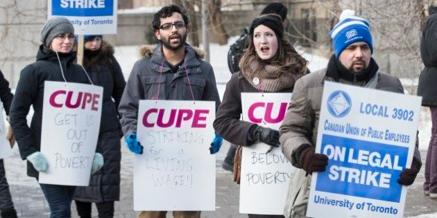 TORONTO, ON - MARCH 2: Picketers from CUPE 3092, representing teaching assistants, began their strike...