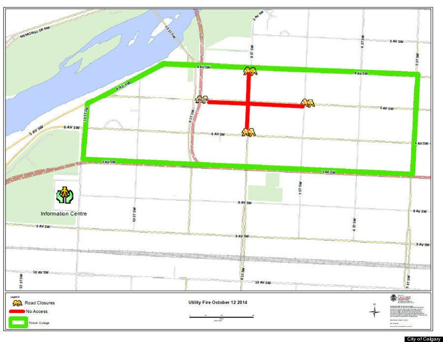 Map Of Damaged Area In Calgary Electrical Power