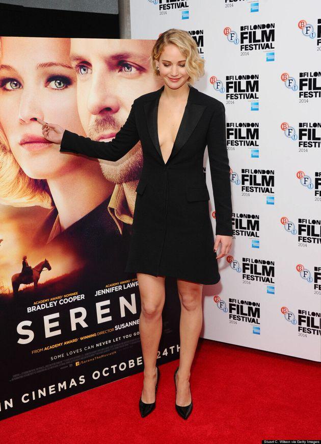 Jennifer Lawrence's Plunging Tuxedo Dress Is