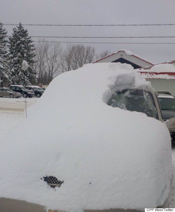 Ontario Driver Busted For Driving Snow-Covered Car Like