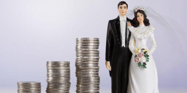 Wedding couple and coin