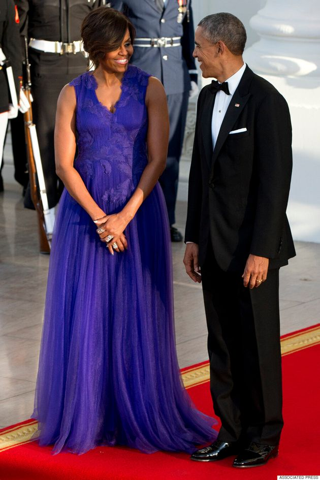 Michelle Obama Looks Regal In Purple Gown At White House State