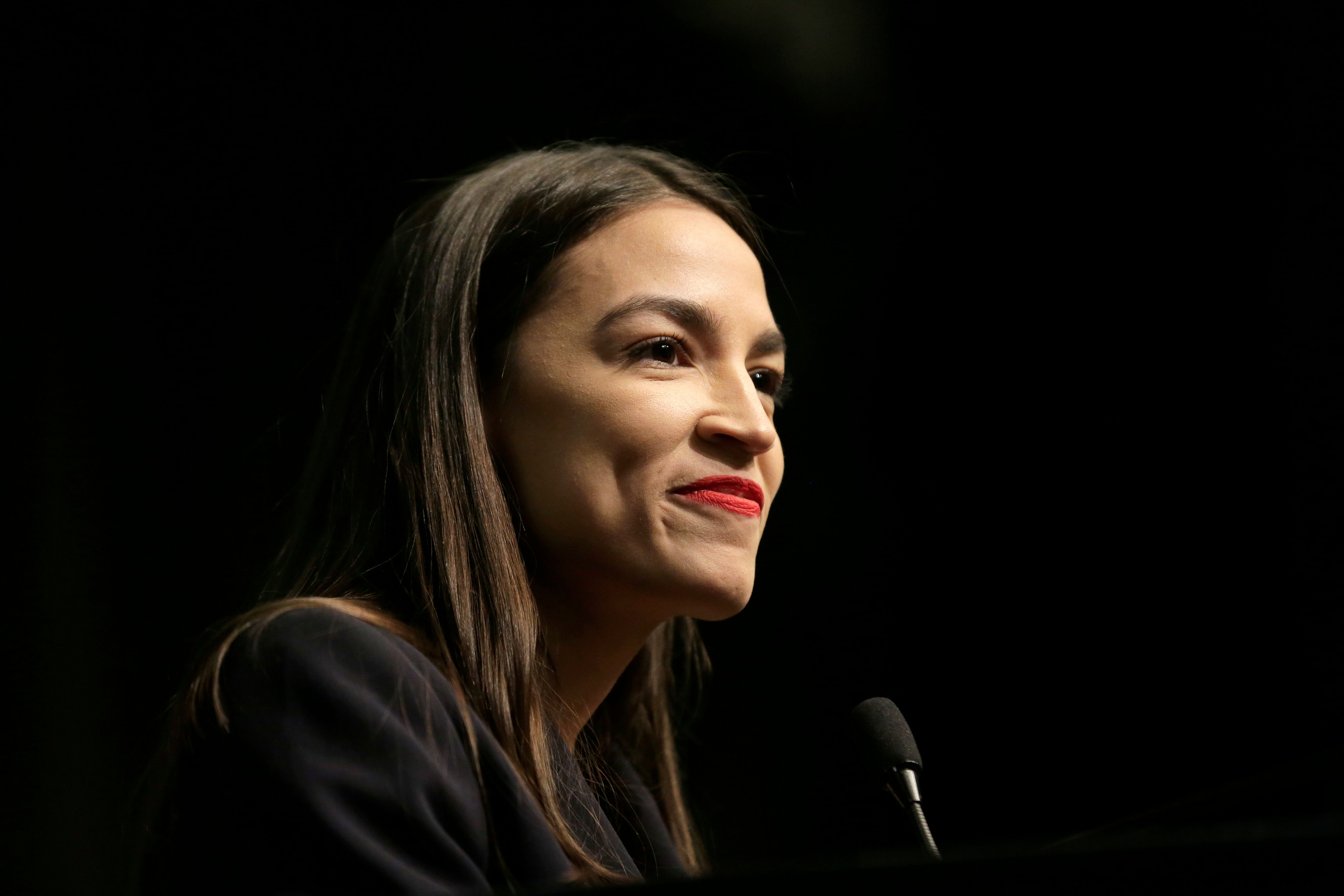 U.S. Rep. Alexandria Ocasio-Cortez, D-N.Y., speaks during the National Action Network Convention in New York, Friday, April 5, 2019. (AP Photo/Seth Wenig)