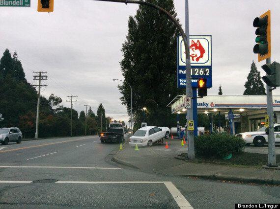 Richmond Driver Gets Stuck At Gas Station