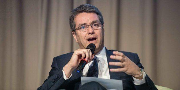 World Trade Organization (WTO) Director General Roberto Azevedo participates in a session on 'Transforming...