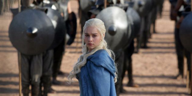 FILE - This file publicity image released by HBO shows Emilia Clarke as Daenerys Targaryen in a scene from