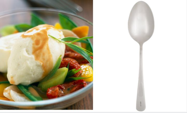 "A quenelle is a smooth, football-shaped spoonful, usually of ice cream or whipped cream. <a href=""https://www.webstaurantstore.com/mercer-culinary-m35138-1-3-oz-stainless-steel-solid-bowl-9-plating-spoon/470M35138.html?utm_source=Google&amp;utm_medium=cpc&amp;utm_campaign=GoogleShopping&amp;gclid=EAIaIQobChMIjqTZ4bGR4gIVUl8NCh2IZA75EAQYAiABEgIstPD_BwE"" target=""_blank"" rel=""noopener noreferrer"">The spoon</a> on the right can achieve that shape."