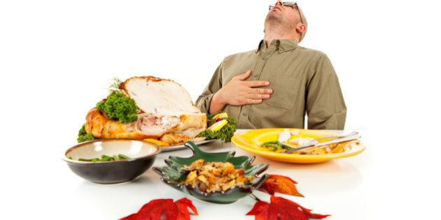 Isolated on white man with a Thanksgiving dinner roasted