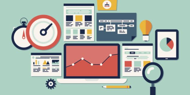Flat design vector illustration icons set of website SEO optimization, programming process and web analytics...