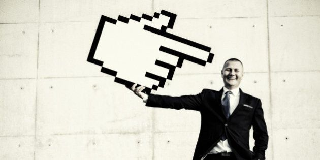 Businessman pointing at himself with hand cursor pointer. Workforce