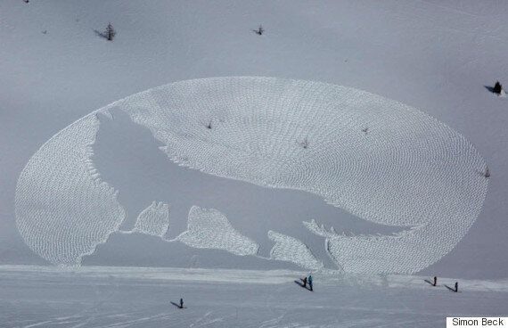 Simon Beck Brings His Snowshoe Art To Alberta (PHOTOS,