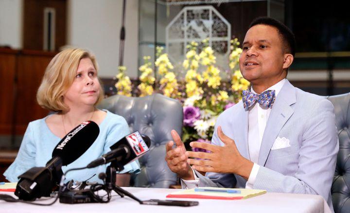 Pastor Furman Fordham (right) speaks on behalf of Johnson on April 3, 2019, in Nashville.
