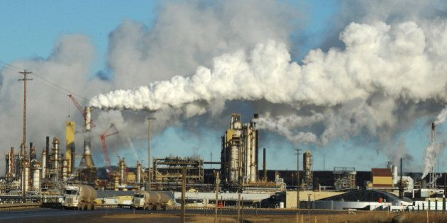 View of the Syncrude oil sands extraction facility near the town of Fort McMurray in Alberta Province,...