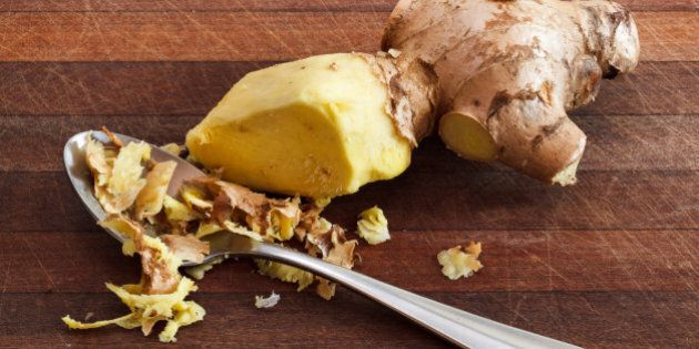 A teaspoon is the best tool to peel the skin off ginger.