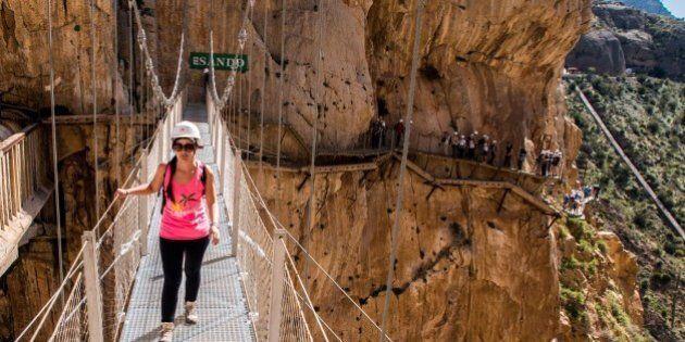 MALAGA, SPAIN - APRIL 01: Tourists walk along the 'El Caminito del Rey' (King's Little Path) footpath...
