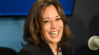 NEW YORK, NY - APRIL 05:  (EXCLUSIVE COVERAGE) Sen. Kamala Harris speaks with host Mark Thompson at SiriusXM's New York Studios on April 5, 2019 in New York City.  (Photo by Slaven Vlasic/Getty Images for SiriusXM)