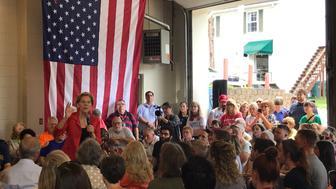Elizabeth Warren speaks to a small crowd in Kermit, W.Va.