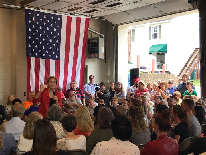 Sen. Elizabeth Warren (D-Mass.) received cheers from the crowd in Kermit, West Virginia, as she spoke about unions, teachers