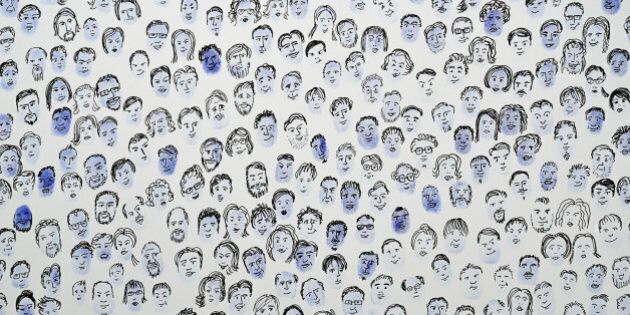 Fingerprints with faces drawn on