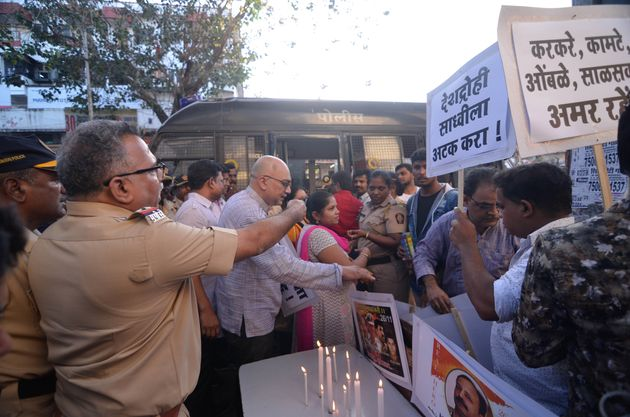 A protest in Mumbai in April against Pragya Thakur's remarks on Hemant