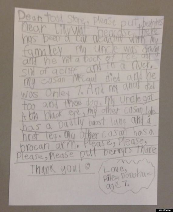 Grieving 7-Year-Old Writes Letter To B.C. Transportation
