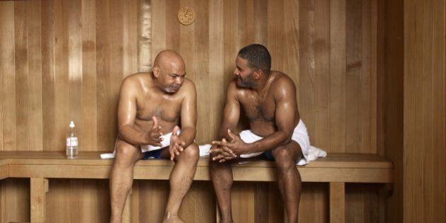 Mature men in sauna