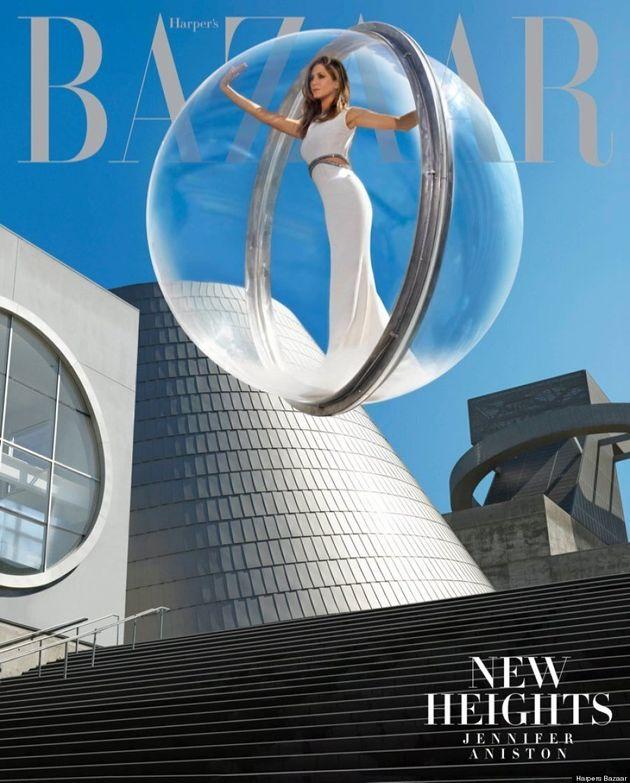 Jennifer Aniston Is Stuck In A Bubble On Harper's Bazaar