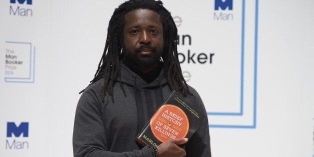Jamaican author Marlon James poses for a photograph at a photocall in London on October 12, 2015, ahead...