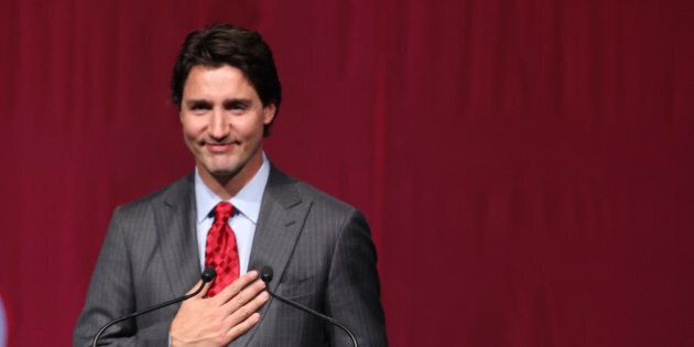 TORONTO, ON - JANUARY 21: TLiberal Leader Justin Trudeau speaks from the podium. Former Prime Minister...
