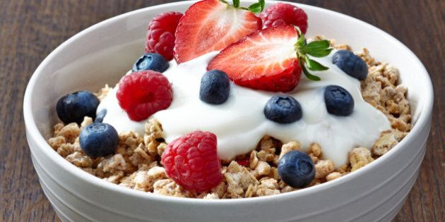 bowl of muesli and yogurt with...