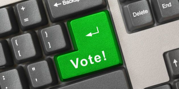 Computer keyboard with vote