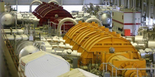 DARLINGTON, ON- DECEMBER 16:  The turbines  in the Power House are also colour coded. Darlington Nuclear Power Plant is currently ramping up to do a decade long refit of all four  reactors. Ontario Power Generation has also built a mock up of a reactor so that crews can practice leading up to the refit.        (Steve Russell/Toronto Star via Getty Images)