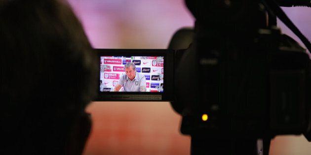 RIO DE JANEIRO, BRAZIL - JUNE 10: Manager Roy Hodgson is seen through a TV camera viewfinder as he talks...